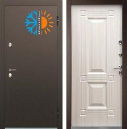 Уличная дверь БУЛЬДОРС TERMO-1 TB-2 белый перламутр/ венге конго с терморазрывом