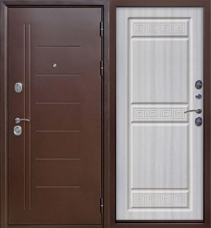 Двери входные Троя Медный антик 10 см дуб сонома