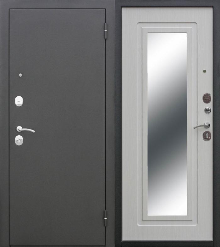 Двери входные Царское зеркало Муар белый ясень