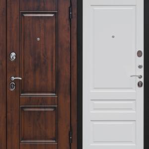 Дверь входная Вена грецкий орех белый матовый